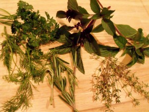 herbs displayed