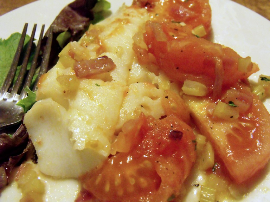 cod and stewed tomatoes