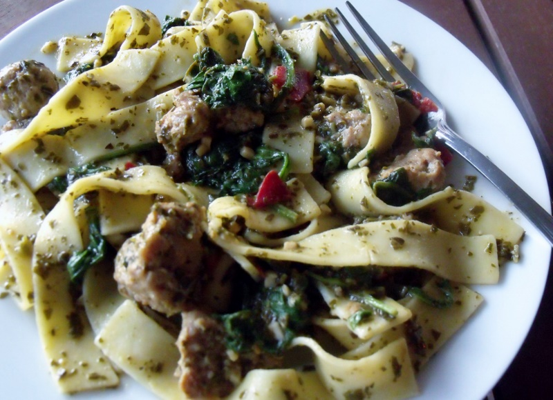 Turkey Sausage Noodle Pesto