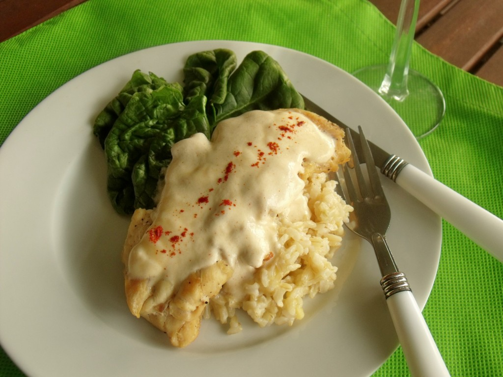 Chicken and Brown Rice in Creamy Skellig Cheddar Sauce