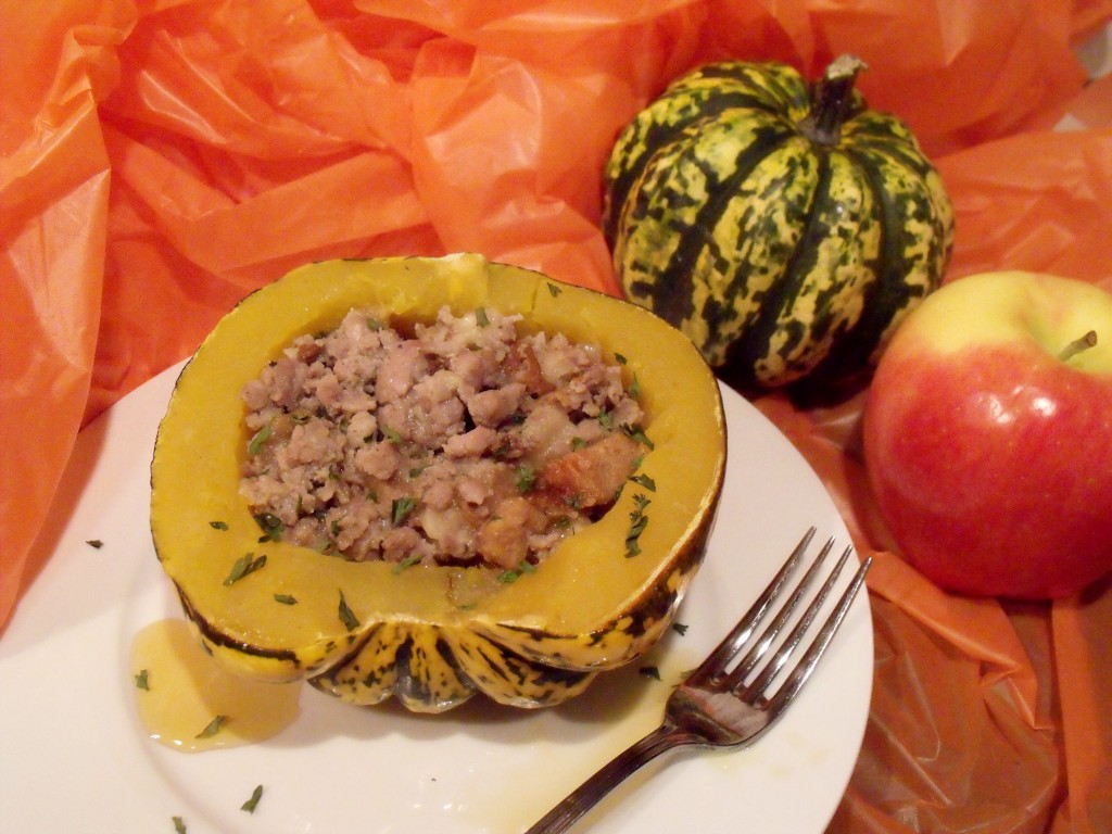 sausage and apple stuffed carnival squash