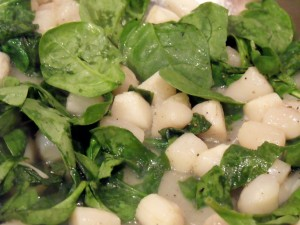 cheesy scallops spinach brown rice ingredients