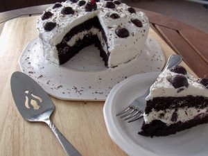 chocolate cherry cola cake slice and cake