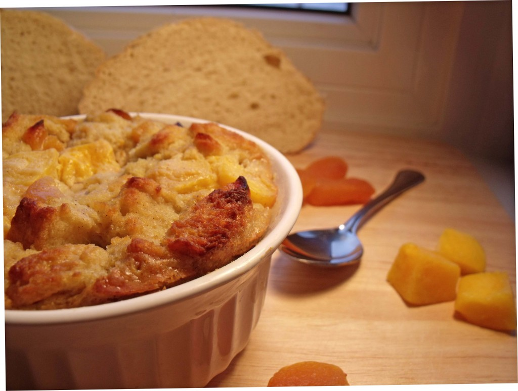 mango apricot bread pudding
