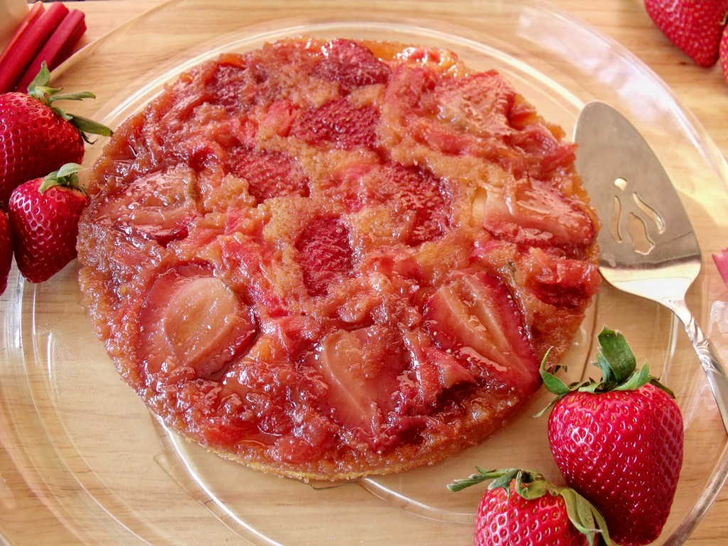 strawberry rhubarb upside down cake plated