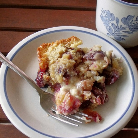 cherry cheese streusel cake piece