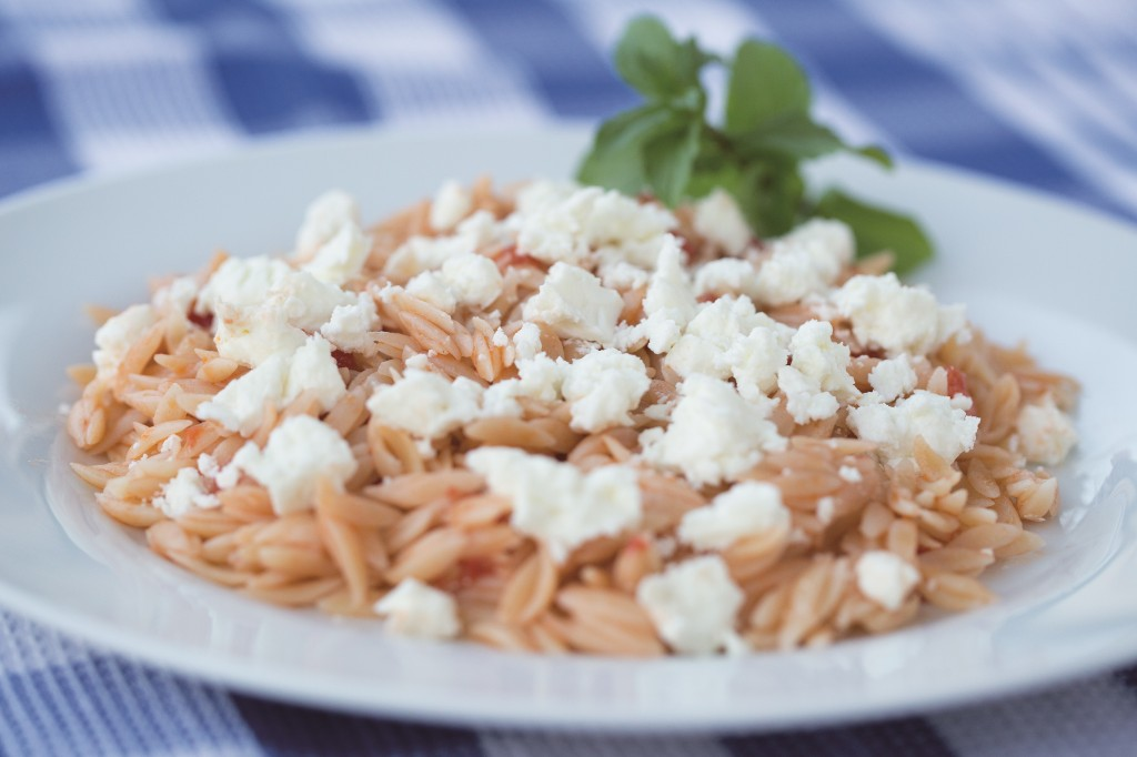 orzo with tomatoes and feta