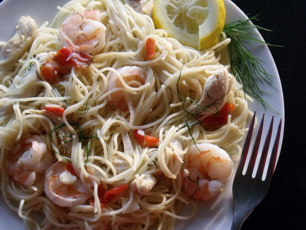 shrimp and chicken angel hair pasta plate