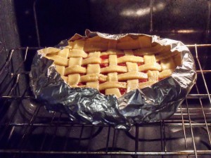 sour cherry pie baking