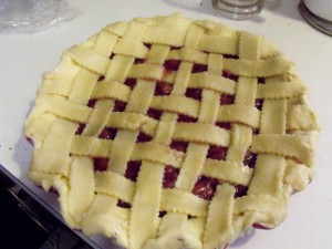 sour cherry pie lattice tucked