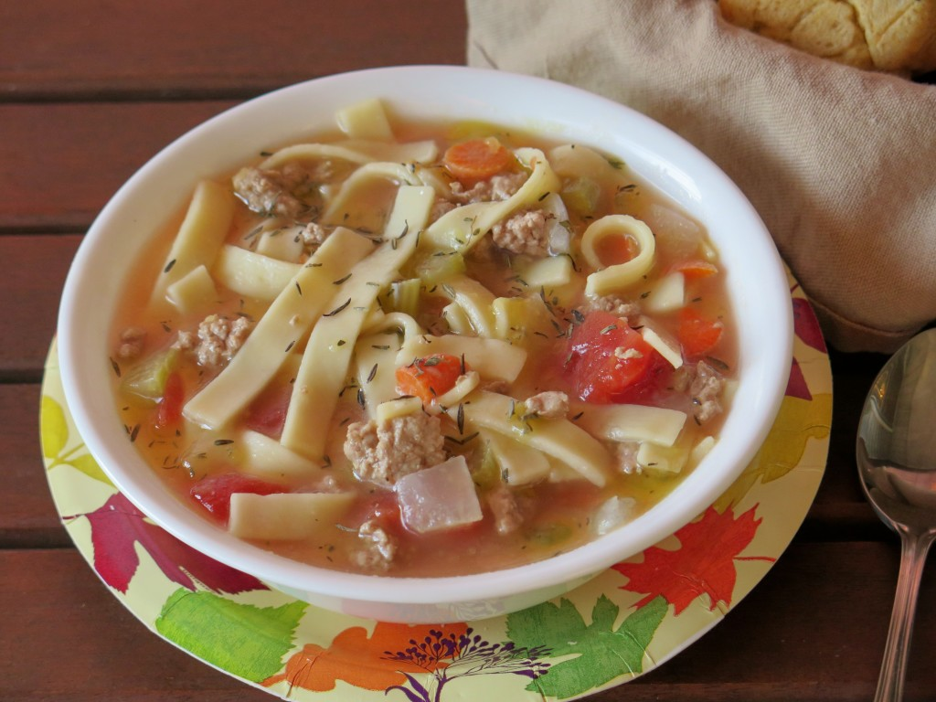 Ground Turkey and Noodle Soup