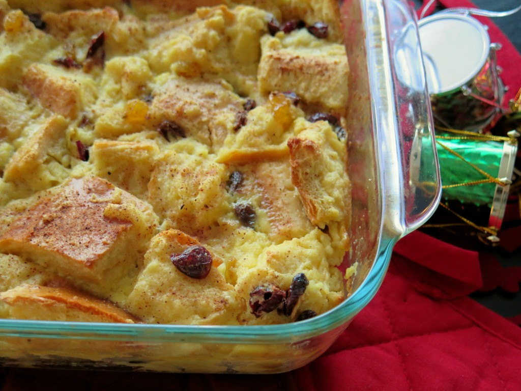 fruity eggnog bread pudding pan