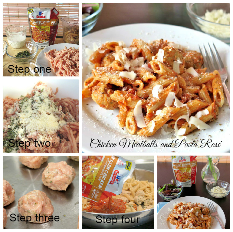 Chicken Meatballs and Pasta Rosé collage