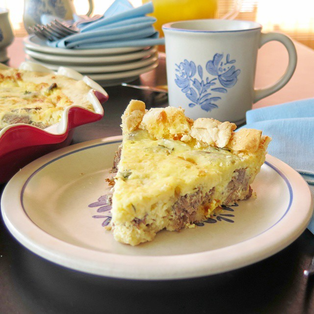 Beef and Cheddar Quiche serving
