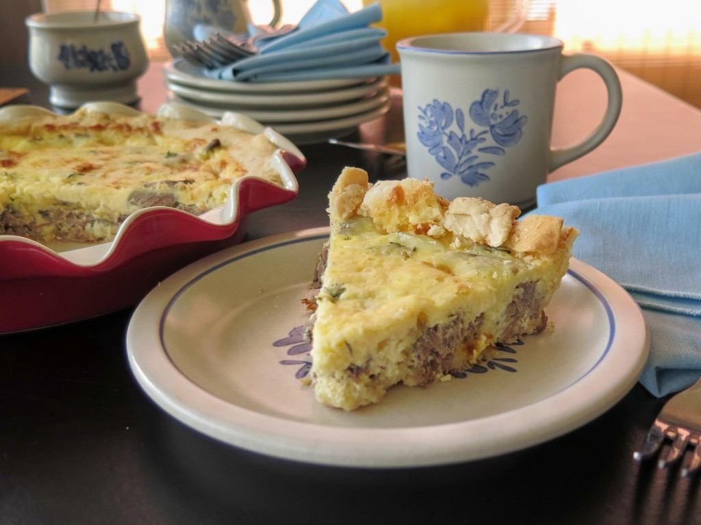 Beef and Cheddar Quiche slice