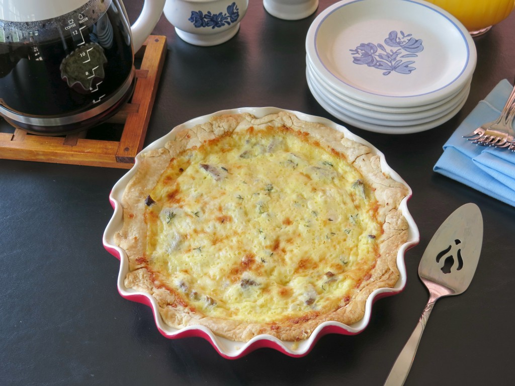 Beef and Cheddar Quiche table set