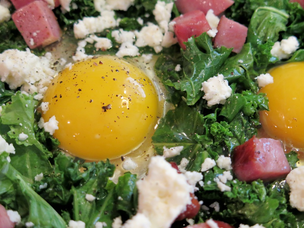Greens & Eggs & Ham ready to cook