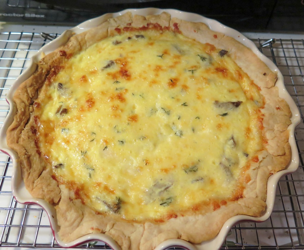 beef cheddar quiche cooling