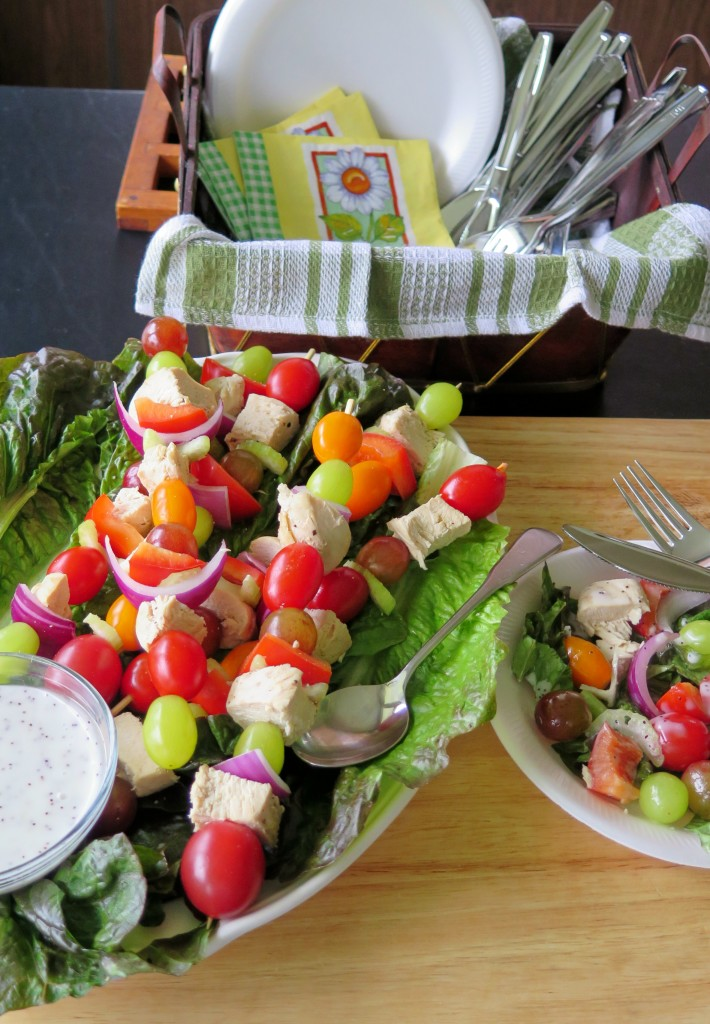 Chicken Salad Skewers table