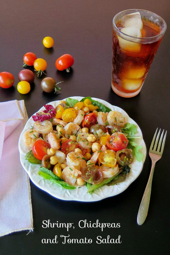 Shrimp Chickpeas and Tomatoes Salad lunch 1