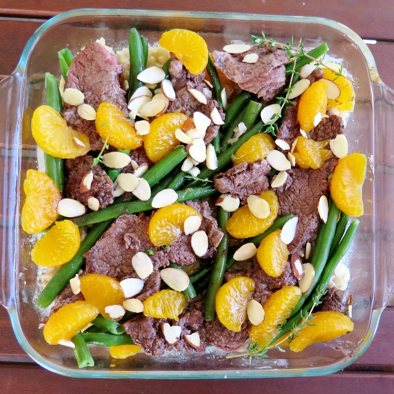Beef and Green Beans over Orange Rice Casserole