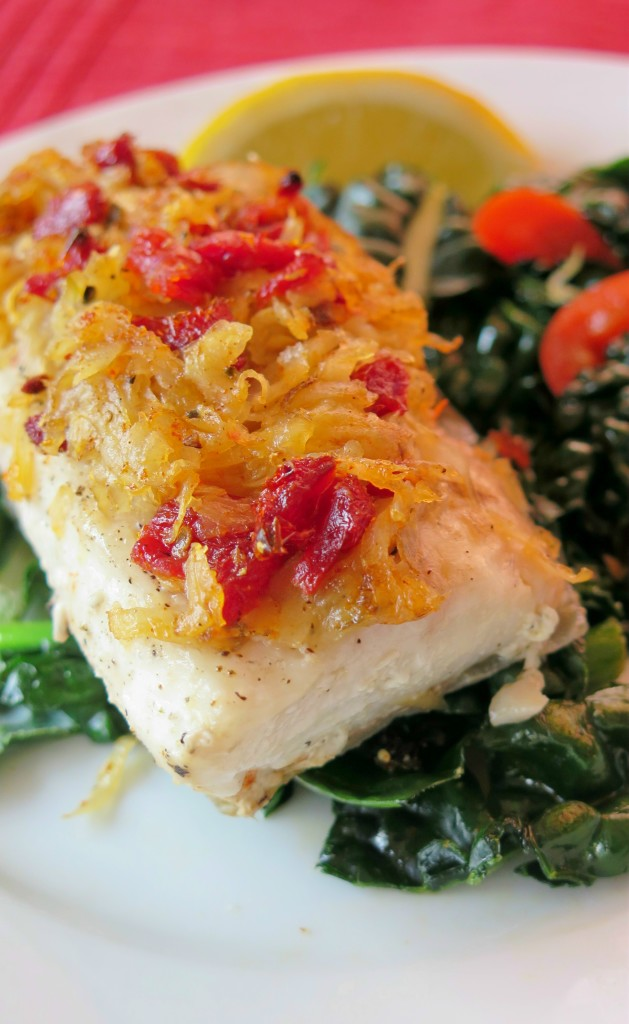 Sun-dried Tomato and Potato Crusted Baked Cobia