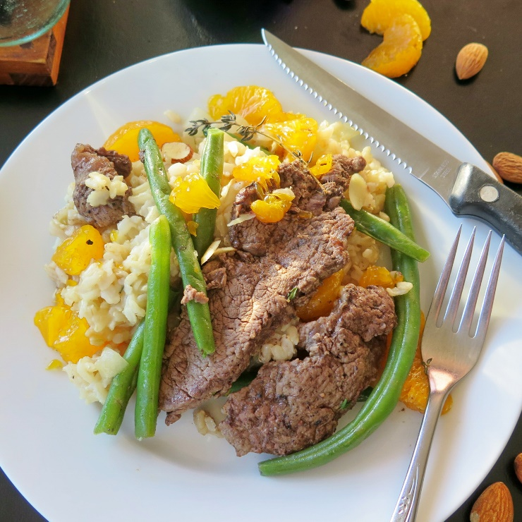 Beef and Beans Over Orange Rice