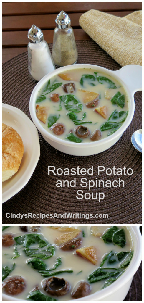 Roasted Potato Spinach Soup