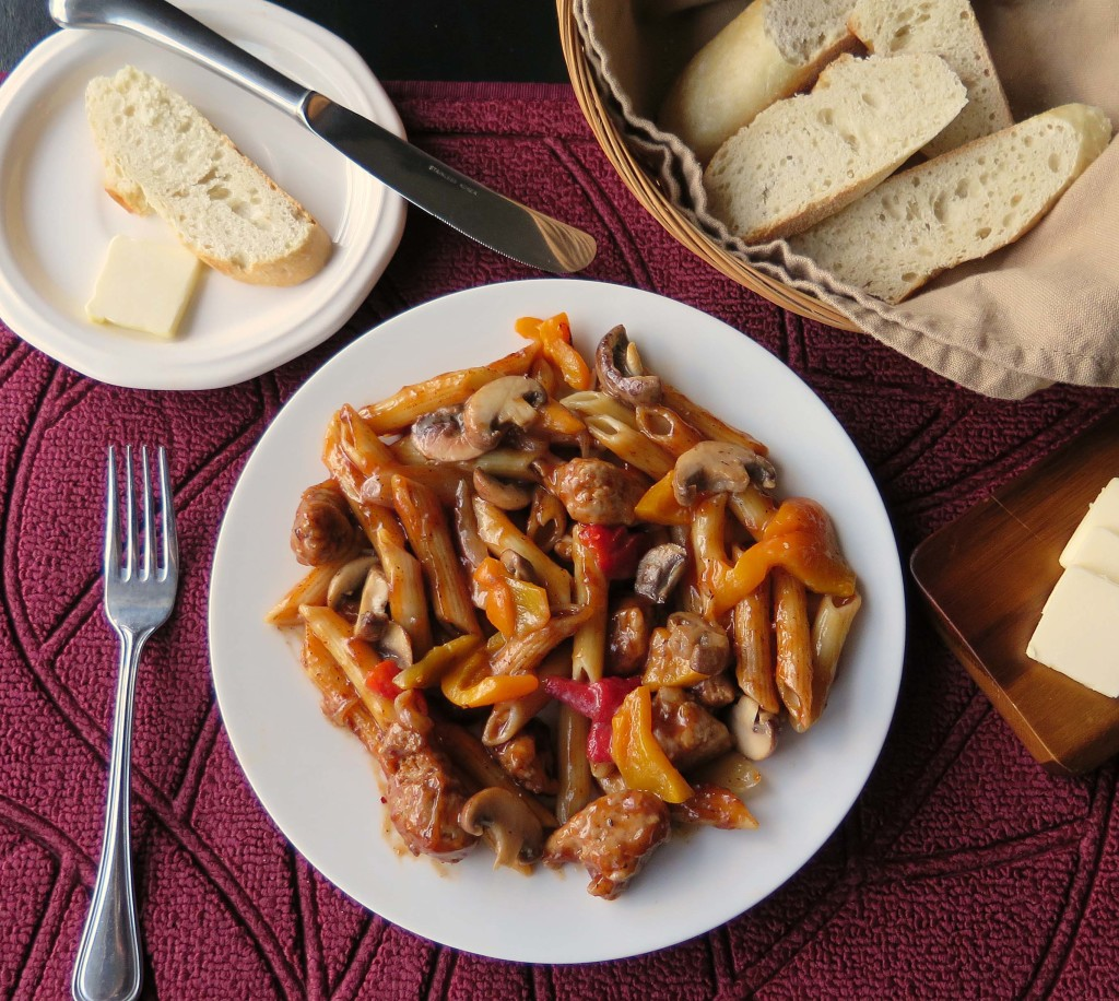 Turkey Sausage and Pasta lightly coated in a bbq based sauce is an ...
