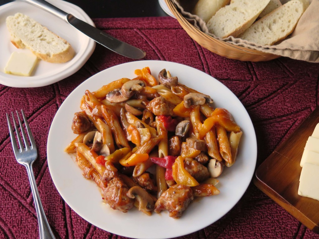 Turkey Sausage and Pasta plate