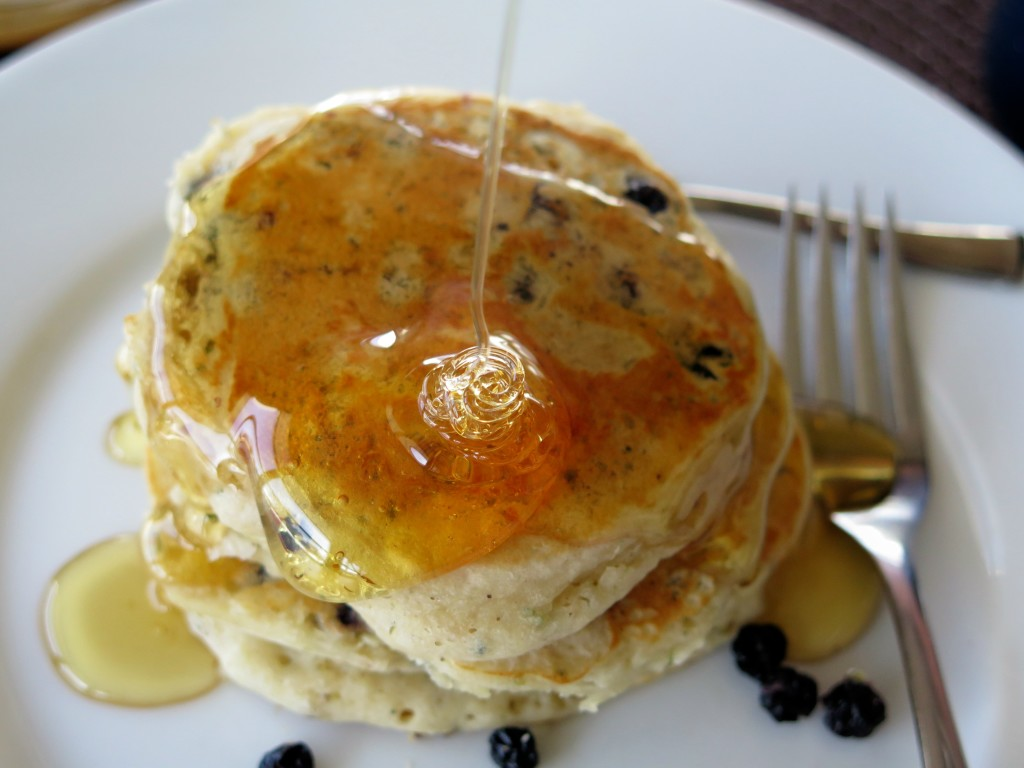 Fruity Hemp Seed Pancakes honey