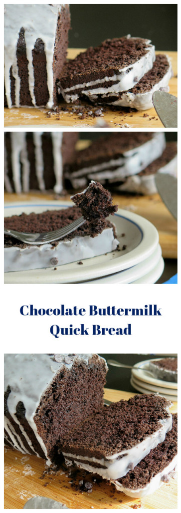 chocolate buttermilk quick bread collage