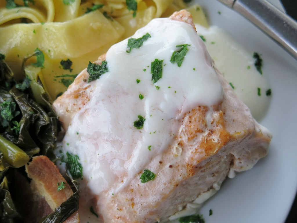 Baked Salmon with Citrus Yogurt Sauce
