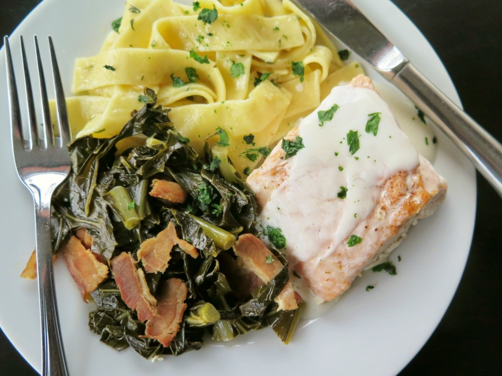 Yogurt Sauce. Baked salmon topped with a smooth, creamy yogurt sauce ...