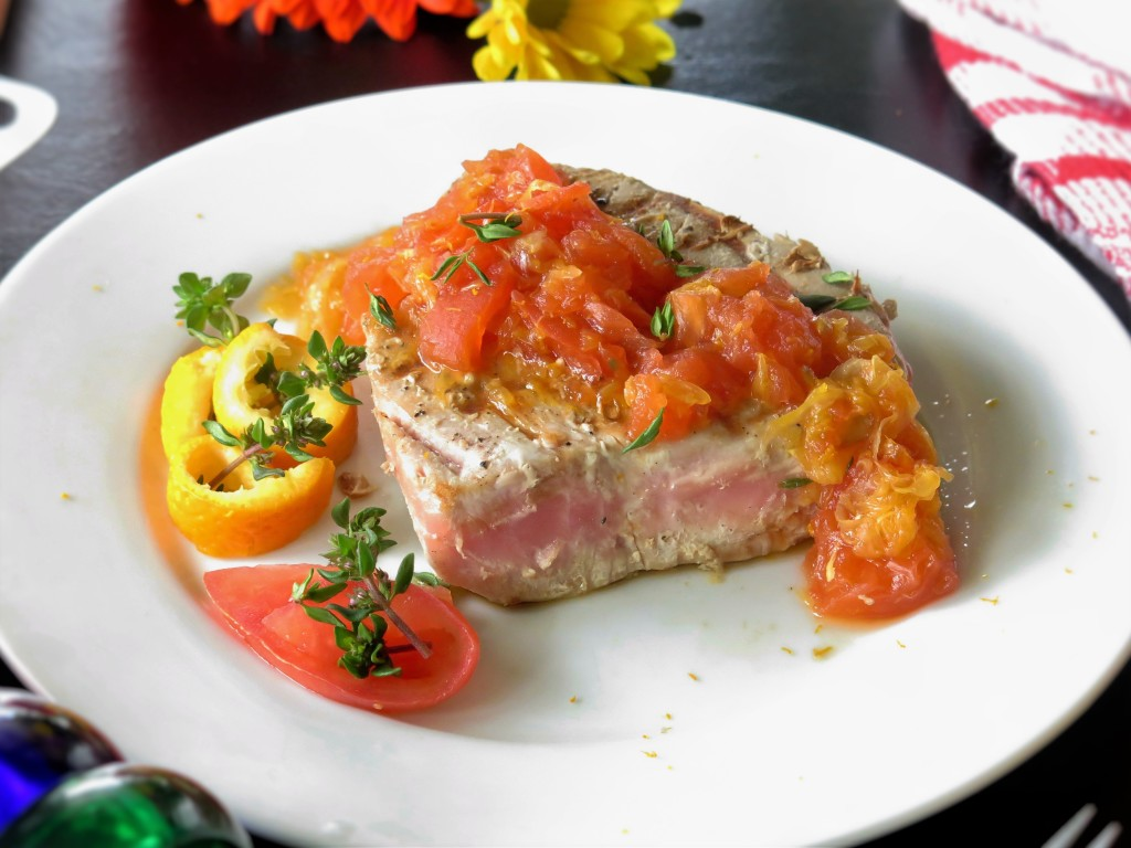 tuna steak and orange tomato sauce
