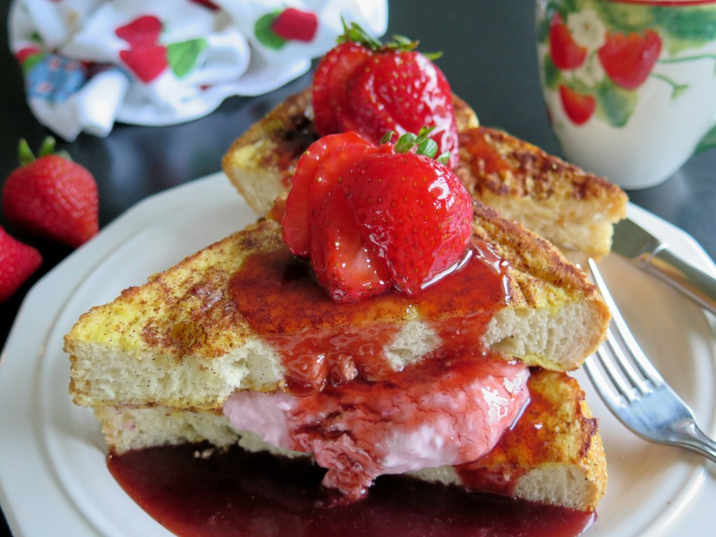 Strawberry Cream Cheese Stuffed French Toast plate