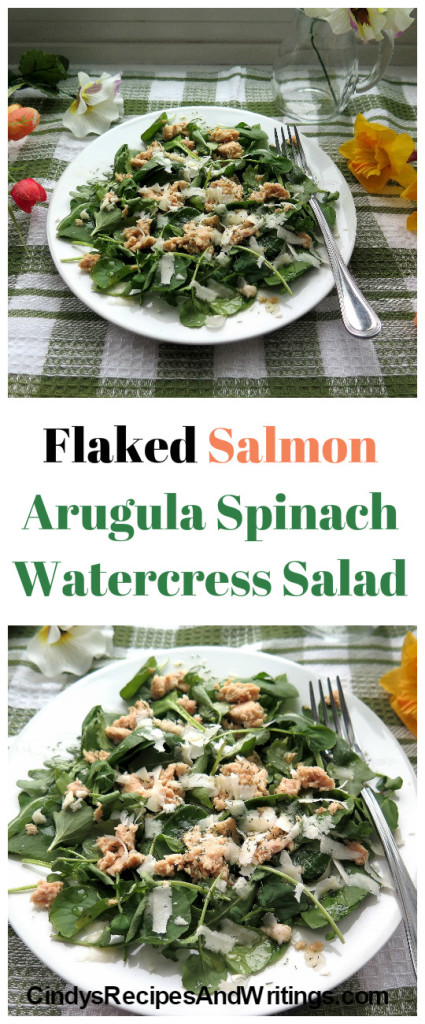 Flaked Salmon Arugula Spinach Watercress Salad