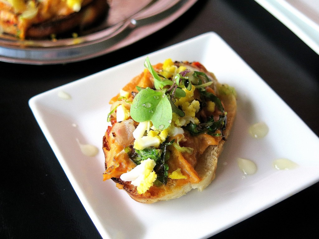 Roasted Brussels Sprouts Egg Red Pepper Hummus Crostini