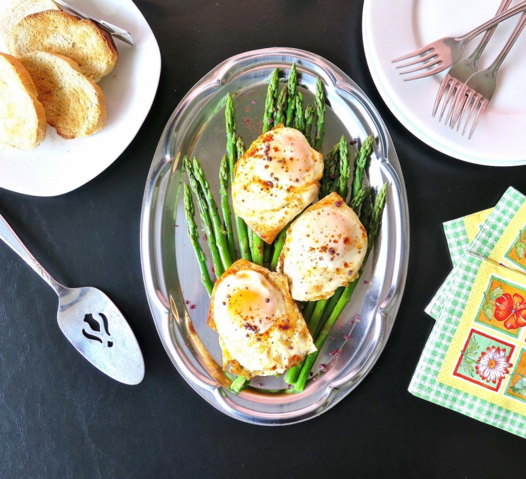 Smoked Eggs Over Asparagus Platter #BrunchWeek