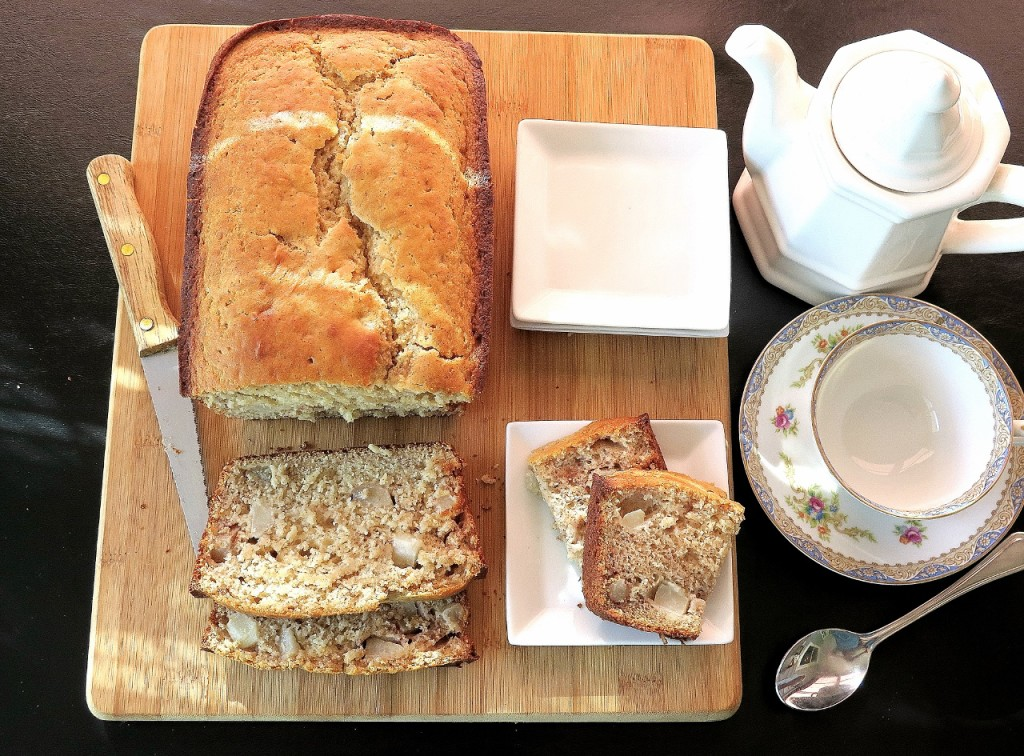 Almond Pear Bread and slice