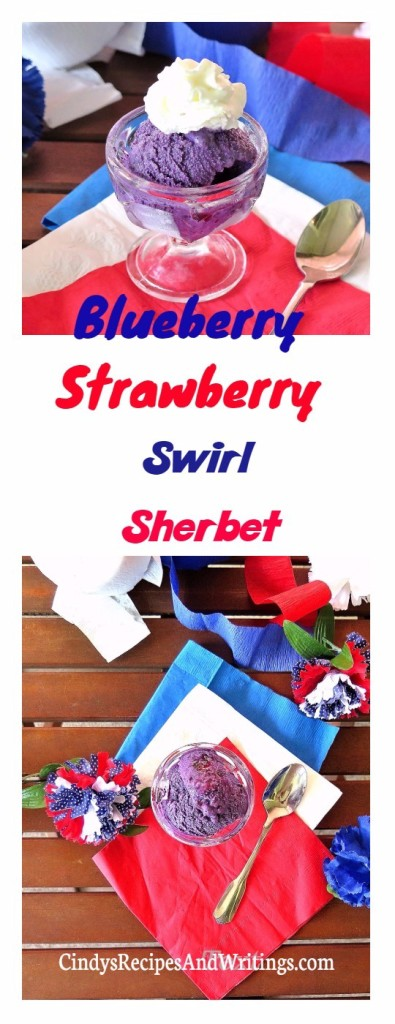 Blueberry Strawberry Swirl Sherbet