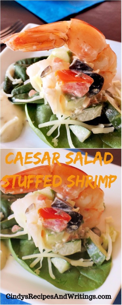 Caesar Salad Stuffed Shrimp