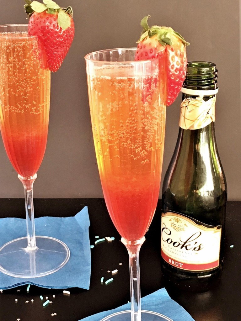 Strawberry Ginger Champagne Cocktail glasses