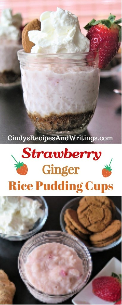 Strawberry Ginger Rice Pudding Cups